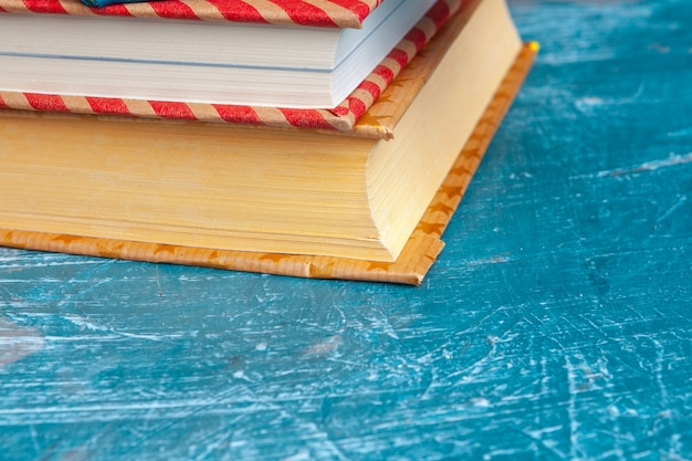 Paperback books on a table