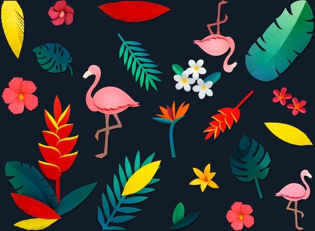 Фламинго природа papercraft листья растения