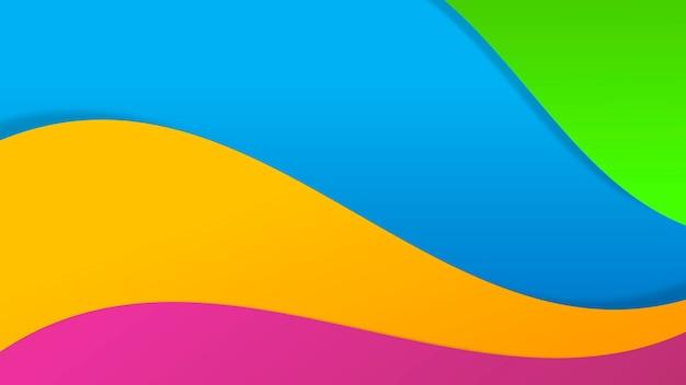 ペーパーカットブルーアートグリーンオレンジとピンクの抽象的な背景