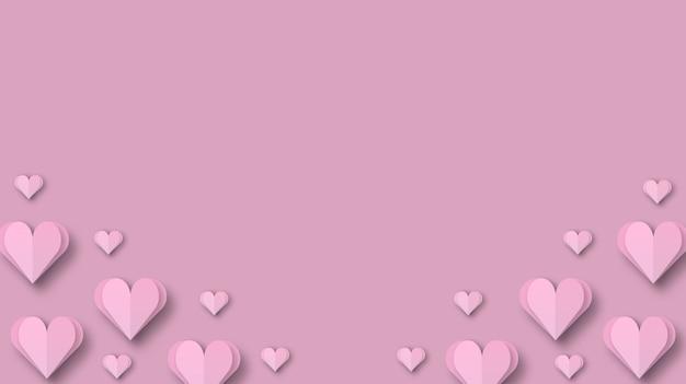 Papercut сердце для концепции фона дня святого валентина 3d