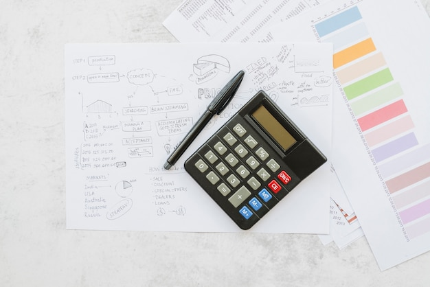 Papers with business strategy and calculator