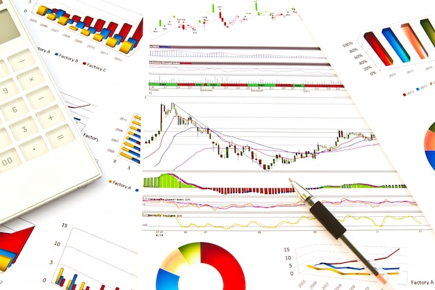 Paperwork with colorful graphs