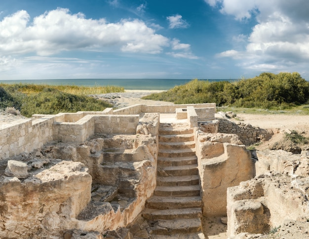 Paphos archaeological park at kato pafos in cyprus