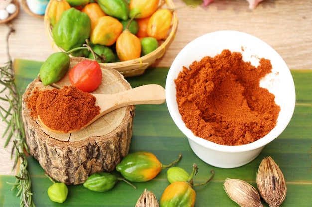 Paprika powder spicy red and chilli peppers