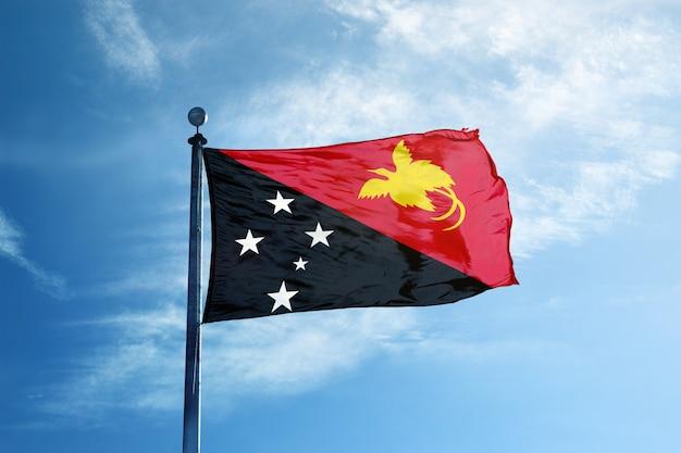 Papua new guinea flag  on the mast
