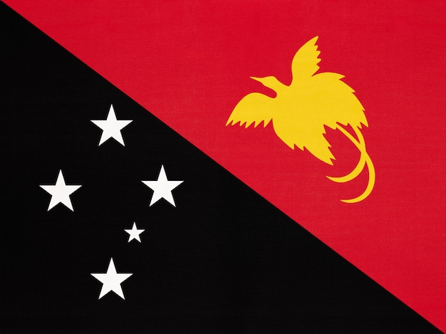 Papua new guinea national fabric flag, textile background  symbol of world oceania country