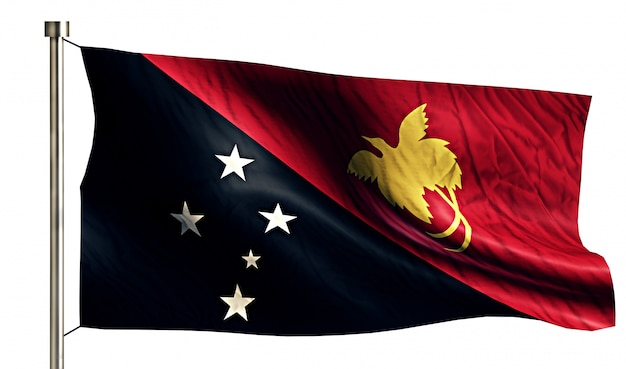 Papua new guinea national flag isolated 3d white background