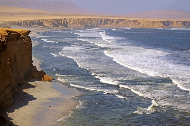 Paracas national reserve, where the desert meets the ocean, ica region of peru, south america