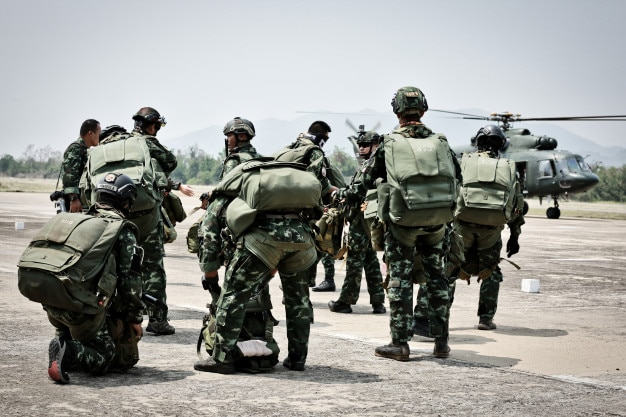 Parachute soldiers ,special forces paratroopers the military operation turning to combat h