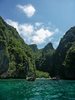 Paradisaical entrance to the koh phi phi island in thailand
