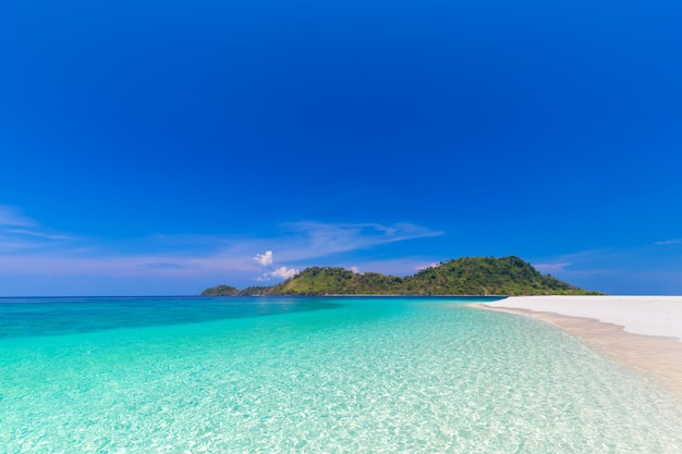 Paradise beach and the blue sky at khai island in satun province, thailand