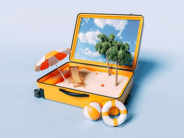 旅行スーツケースの中のパラダイスビーチ。夏休みのコンセプト。
