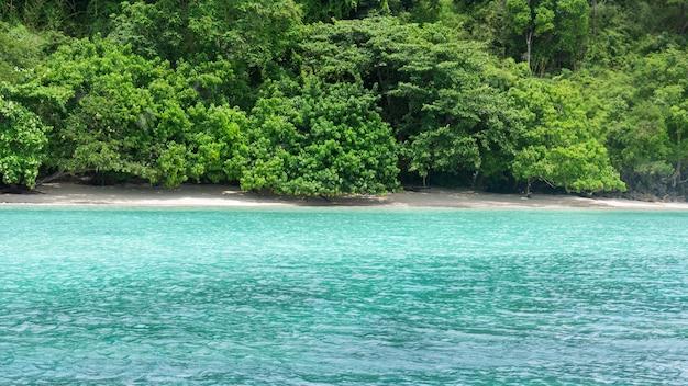 Paradise idyllic beach krabi, thailand, ocean in the evening as nature travel background.