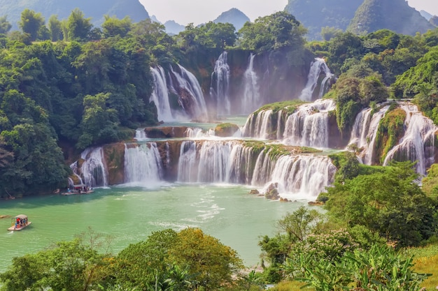 Paradise outdoor stream asian coast waterfall