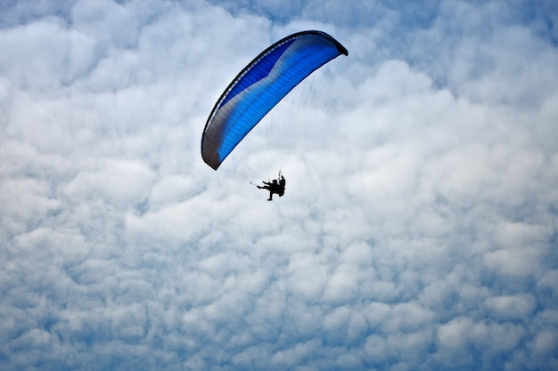 Paragliding along beautiful coastline.