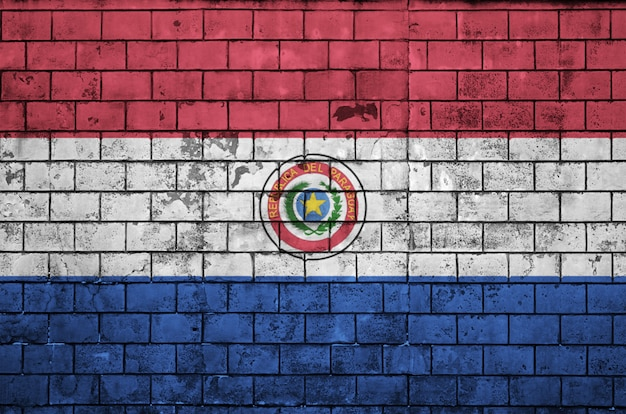 Paraguay flag is painted onto an old brick wall