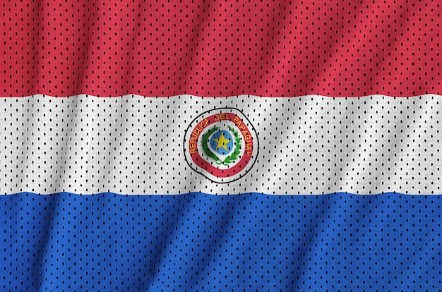 Paraguay flag printed on a polyester nylon sportswear mesh fabric
