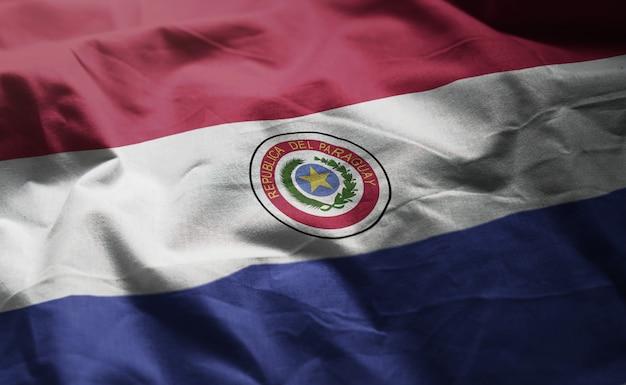 Paraguay flag rumpled close up