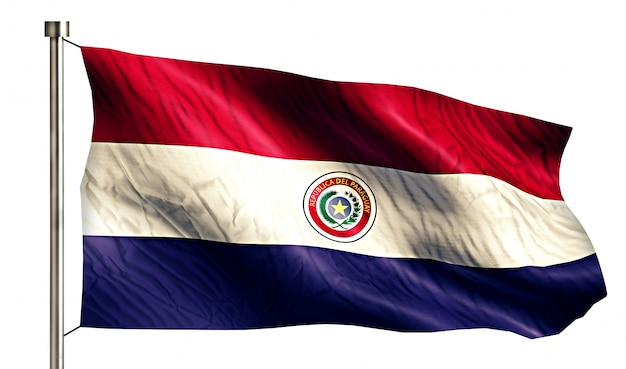 Paraguay national flag isolated 3d white background