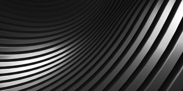 평행선 검은 플라스틱 튜브 질감 검은 곡선 왜곡 모양 현대 추상 3d