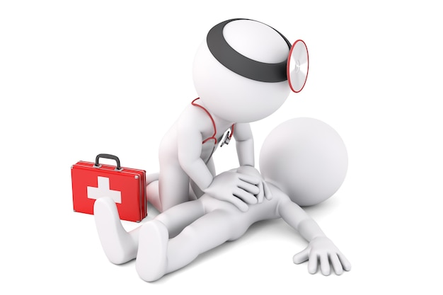 Paramedic helping to unconscious young man. 3d illustration. isolated. contains clipping path
