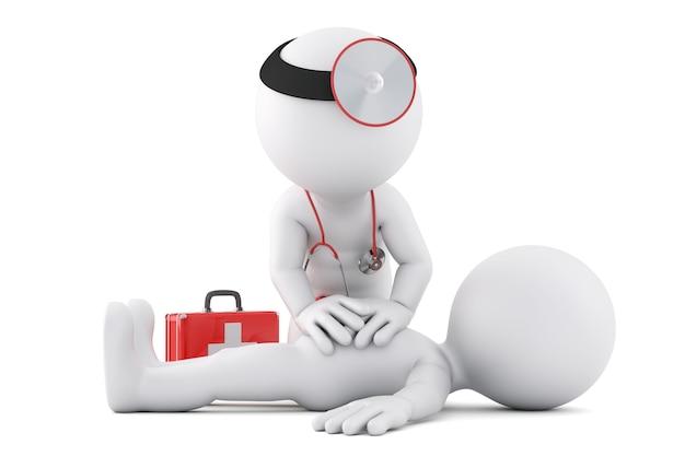 応急処置のサポートを提供する救急医療。 3dイラスト。孤立。クリッピングパスが含まれています
