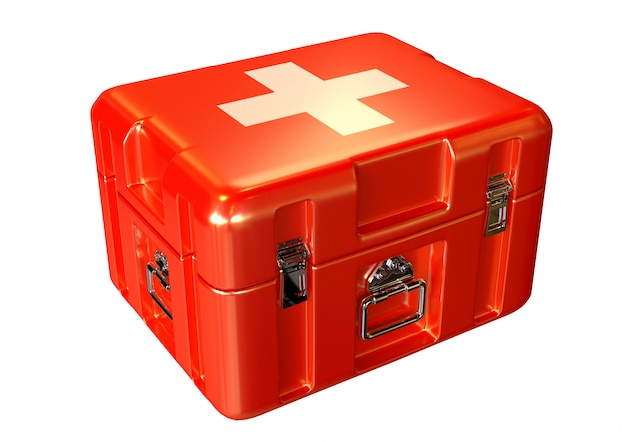 Paramedics first aid kit box in emergency care with medicines and supplies, white background isolated