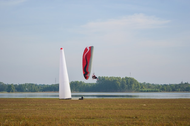 Paramotor flying above water