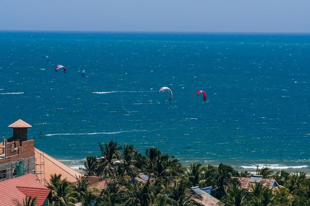 Paramotor over sea