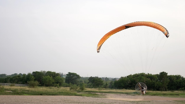 Paramotor start and flying