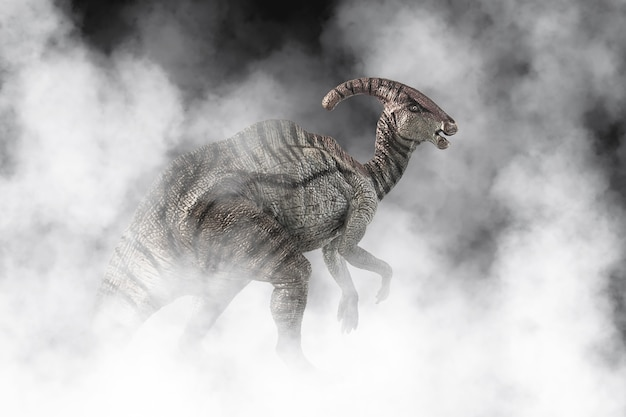 Parasaurolophus dinosaur on smoke background