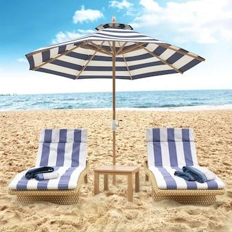 Parasol de plage et chaises de plage bleu ciel