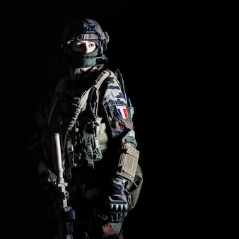 Paratrooper of french 1st marine infantry parachute regiment rpima
