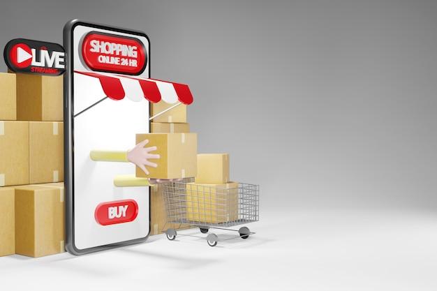소포와 쇼핑 카트. 스마트 폰 24 시간 온라인 쇼핑 스토어, 3d 렌더링