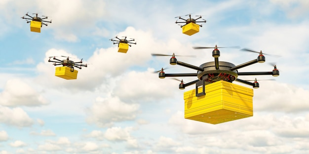 Parcel delivery drone with yellow package flying in cloudy sky