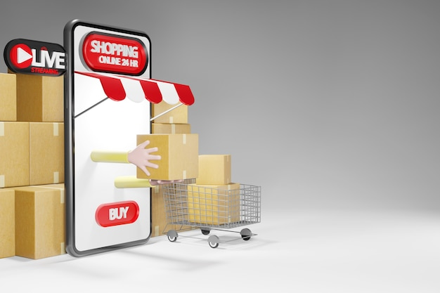 Parcel and a shopping cart. online shopping store on smartphone 24hr, 3d rendering