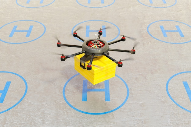 Parcel warehouse with runway and a drone taking off with a package for delivery