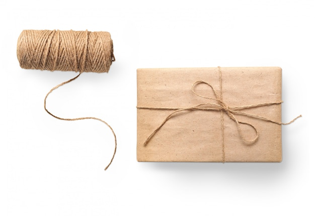 Parcel wrapped packaged box gift and rope
