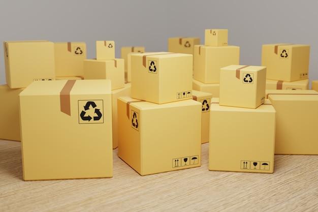 小包と小包の配達の概念。段ボール箱のスタック、3dレンダリング。