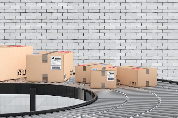 小包輸送システムの概念。レンガの壁の前の倉庫のコンベヤーの段ボール箱。 3dレンダリング