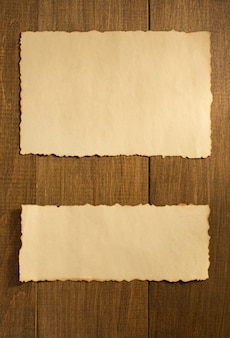 Parchment old paper on wooden