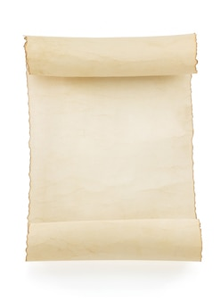 Parchment scroll isolated on white