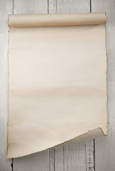 Parchment scroll on wooden