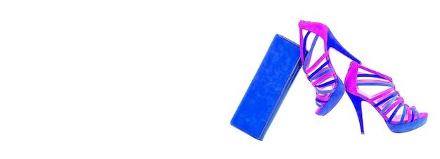 Pare из синих и фиолетовых розовых туфель на шпильке с высоким холмом, изолированных на белом фоне с копией пространства, баннер