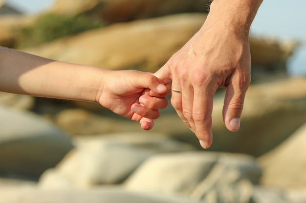The parent holds the hand of a small child near stones