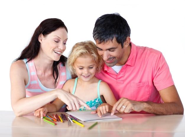 딸의 숙제를 돕는 부모