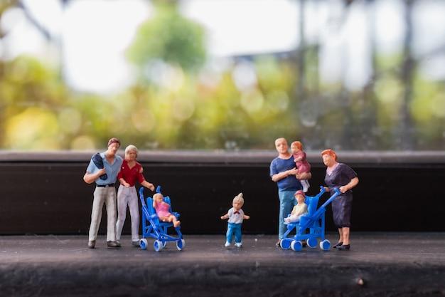 Parents with children walking outdoor