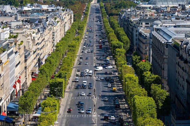 Paris aerial view from triumphal arch on champs elysees, france, europe