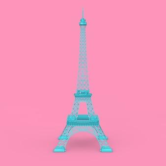 ピンクの背景にパリの青いエッフェル塔の像3dレンダリング