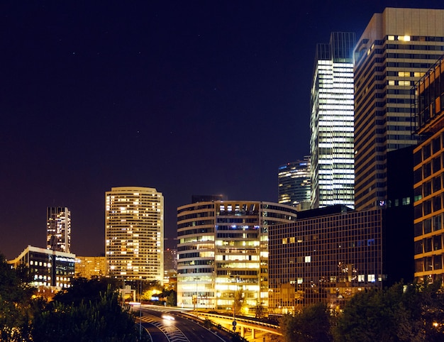 Paris business district at night